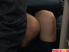 Nana Ogura is a sexy schoolgirl who gets all the men from this bus horny. They take her by surprise and fuck her.