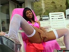 Breathtaking ebony whore Marie Luv fingers her pussy fervently