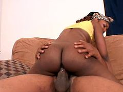 Black girl sucks big black cock with pleasure and then gets her vagina licked. Later on she gets rammed from behind.