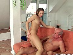 This young whore wants to know what it feels like getting pounded by an old man. She takes the old dick up her tight snatch and rides it in cowgirl position. Then she pleases him with a blowjob to make his cock hard again. Spoiled harlot spreads her legs wide to let him drill her twat in missionary position.