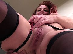 A dirty redhead bitch gets naked for the camera and then fucking sticks a hard toy in her pink-ass motherfucking pussy!