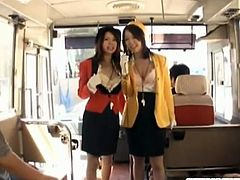 Public cock suckers Rino Asuka and Ringo Kurenai are going wild in the bus. These lucky boys are getting the nastiest pov style blowjob of their lives.