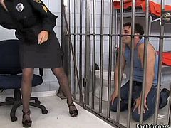 Hawt sexploitress Krissy Lynn wearing police uniform makes one guy to lick her shoes and sniff her feet. Don't skip this exciting foot fetish sex scene.
