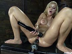 Amazing blonde chick stands on all fours getting her ass and pussy stuffed by the fucking machine at the same time. Then she also uses a vibrator.