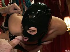 What a dirty BDSM we are about to witness here! This lusty siren is BDSM queen, but today she is being slaved, hang up and tortured hard!