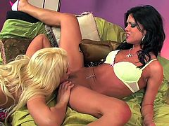 Hot lesbians sharing their toy