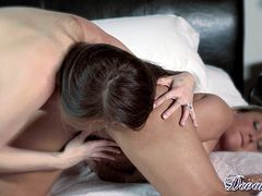 Stunning pronstars are having their warm pussies stimulated in sexy lesbian show