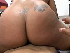 Booty and busty black BBW gets totally absorbed with riding and sucking BBC