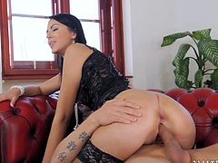 Glamorous brunette is riding just for facial