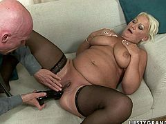 Horny old couple presented in 21 Sextury xxx clip is surely worth checking out. Old fat gammer in black stockings spreads her plump legs as wide as she can. This odlie with droopy big tits begs her old husband to fuck her asshole with a black dildo and groans of delight right away.
