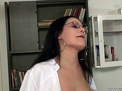 Lustful doctor in sexy white stockings tells her patient that everything is fine with his cock after riding it in reverse cowgirl position. Then she gives him a nice blowjob.