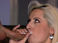 Sexy blonde mom Daria Glower lets some dude finger her hairy cunt. Then they have anal sex in the reverse cowgirl position and the dude cums into Daria's hot mouth.