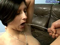 Naughty brunette newcomer is sucking dick deepthroat. Then she serves her mouth while the guy is pissing. Kinky piss drinking porn video presented by 21 Sextury.