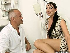 Mind taking brunette mature gets lured by grey-haired bald gynecologist. He makes her take off her clothes and pull down her panties before he starts fingering her soaking pussy.