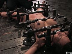 Sexy Asian chick Tia Ling is having fun with some guy in a basement. She lets the dude immobilize her and then gets her coochie pounded with a dildo.