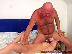 Slightly chubby young babe sits on stiff cock and hops on it reverse. She rides it intensively and you can be pleased with her big appetizing ass.