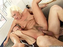 This lustful granny loves anal fuck more than anything on Earth! Shameless trollop sucks her lover's dick fervently like mad. Since that pecker is already hard sex-starved woman jumps on top of it and rides it for a long time. Damn, that hairy snatch looks disgusting!