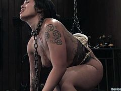 This exotic and smoking hot siren Dragon Lily is being abused. She is trapped in some chains and there is no way out. Try hard babe!