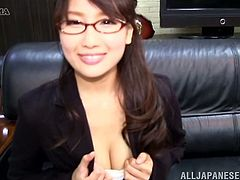 Check this Japanese in glasses at the office and see her legs, her panties through an upskirt shot and more.