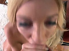 Classy blonde nymph Amy Brooke suckles on a thick pulsating boner before taking it up her round ass