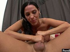 Veronice Rayne is an extremely seductive brunette hottie with a nice set of huge boobs! She gets into 69 position and starts sucking her boyfriend's dick passionately for juicy cum.