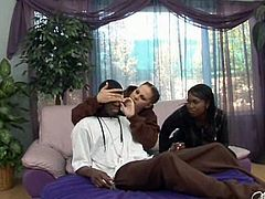 Two whorish teens make out with a sex greedy black dude. They take off his clothes and blindfold his eyes before a steamy threesome sex orgy by Pornstar.