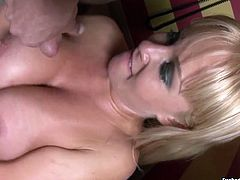 Fierce blonde slut Jessica Moore cock sucking and ass licking in the bathroom