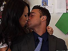 Asa Akira and Rocco Reed in Naughty Office // Story: Asa is in for her three week evaluation and Rocco is not happy. She has a problem being on time so her evaluation is not looking good. In order to work her way up she decides to go down and suck Rocco's cock.