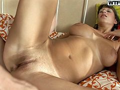 Kinky light haired girlie with big tits and flossy ass will impress you with her dick sucking skills, presented in steamy WTF Pass sex clip. Torrid busty chick is expert in giving a stout deepthroat to a fat long dick to be fed with gooey sperm right away.