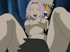 Naruto fucks a pink haired girl. He grabs her from behind and holds her down as his friend eats her pussy and sticks his cock inside her cunt. Then Naruto sticks his cock in and gets sloppy seconds, which he enjoys.