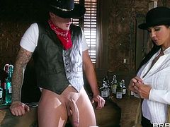 There's a new guy in town and his damn good with the ladies. Life in the wild west is hard and a man need to been taken care of his gun. Check out this action with hot naughty saloon slut that need some serious cock caliber and a lot of hard fucking