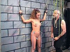 Slutty teen gets stimulated and dominated by older guy in hot BDSM porn