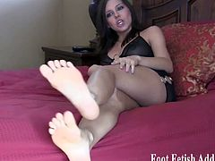 Watch these alluring and nasty dommes ordering you to kneel and worship their sexy feet in this hot femdom vid.