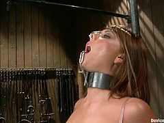 Lovely babe in stockings gets her pussy fingered and tits tortured. Then she also gets clothespinned and toyed in her ass.