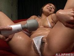 Look at this smoking hot siren Madoka Nanao! She loves being oiled up and played on her pussy! Making her reach orgasm is pretty easy!
