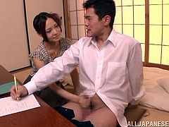 This divine and slender babe Yukina Momota sees how stressed her husband is. So she urges him to forget about work and gives him a sensual blowjob!
