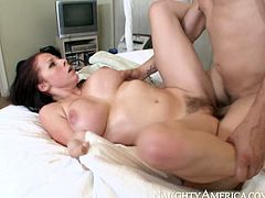Busty porn actress Gianna looks hot in cowgirl position. After riding session she gets cozy and licks her own nipples while her fuck buddy pleases her appetizing pussy.