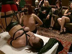 They guests of the evening did not suspect that the host of the party is such a perverted man! Three smoking hot babes enter the hall and start going fetish!