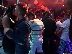 Dirty party harlots dancing and fucking giant cocks in a club sex orgy