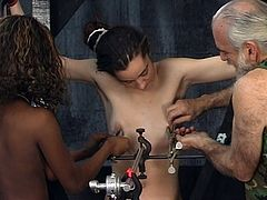 Old guy enjoys having teen babe along slutty ebony obeying his desires in BDSM