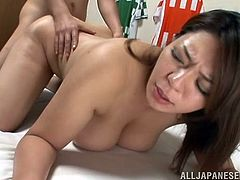 What a filthy Japanese milf is being naughty in this porn scene. She polishes her lover's penis and then lets it go deep in her wet beaver!