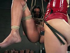 Annette Schwarz is blonde German mistress. She punishes some brunette chick. She ties her up and whips brunette's vagina. After that Annette toys Charley's vagina with a vibrator.