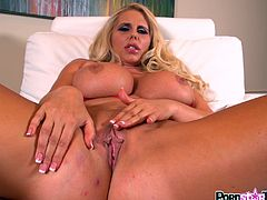 Staggering blonde pornstar with really huge tits gives one amazing solo session
