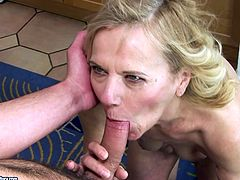 Well, there's no doubt that this blond haired nympho is a really voracious bitch. Wrinkled whore with droopy tits and huge ugly ass gives a super solid blowjob to a lucky bastard and licks his ass with delight.