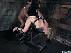 This smoking hot blond babe is being a loyal sex slave today! She gets naked and starts felling some passion from the bondage and a severe doggy style session!