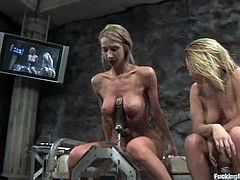 Check the hot blonde lesbians Harmony and Sammie Rhodes having a great time together as they play with fucking machines and vibrators.