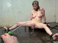 Pussy is sprayed and ready for some deep insertions