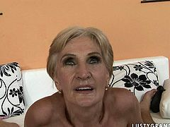Sextractive blond grandma in red and black corset rides horny man in cowgirl style before she mouth fucks his strain dick. Later she gets her beaver banged in sideways pose from behind.