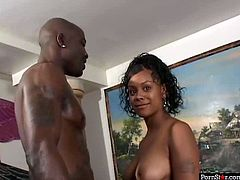 Beefy black dude notices a mesmerizing mulatto cutie in the street. He invites her home where she goes down on her knees to give his long hard dick a steamy blowjob.