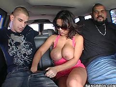 A slutty-ass fucking whore sucks on a hard dick and gets her shaved gash fucked hard in the backseat, hit play and check it out!